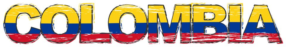 Word COLOMBIA with Colombian national flag under it, distressed grunge look vector illustration