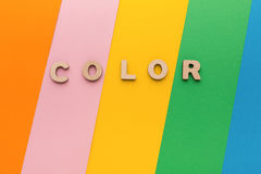 Word Color on bright colorful background Royalty Free Stock Photos