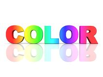 The word COLOR in rainbow colors. On a reflective white surface Stock Photos