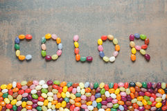 Word color written with jelly beans Stock Photography