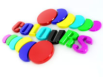 Word colors. Word colours from of the letters in different colors. 3d Stock Photos