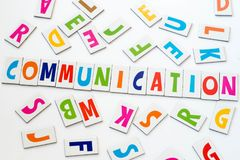 Word communication made of colorful letters. On white background royalty free stock photo