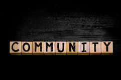 Word COMMUNITY  isolated on black background Stock Image