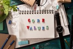 Word composed of colorful letters. Core values - words composed of colorful letters royalty free stock photo