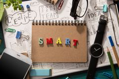Word composed of colorful letters. Smart - word composed of colorful letters royalty free stock photo