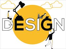 Word concept Design and people doing creative activities vector illustration