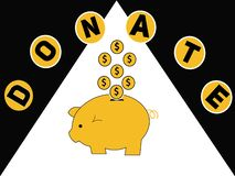 Word concept Donate and piggy bank with dollars coins royalty free illustration