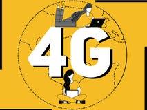 Word concept 4G en mensen die activiteiten doen royalty-vrije illustratie