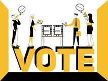 Word concept Vote and people doing promotional activities vector illustration