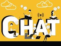 Word conceptenpraatje en mensen die technologiedingen doen royalty-vrije illustratie