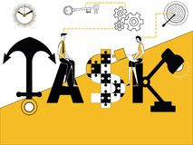 Word conceptentaak en mensen die activiteiten doen vector illustratie