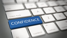Word CONFIDENCE on a key on a modern keyboard Stock Photography