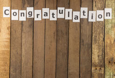 Word congratulation on wood Stock Images