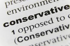 The Word Conservative Close Up.  royalty free stock photo