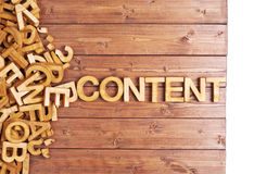 Word content made with wooden letters Royalty Free Stock Photos