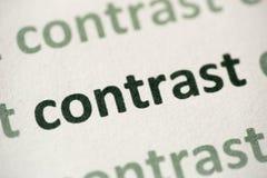 Word contrast op document macro wordt gedrukt die stock afbeelding
