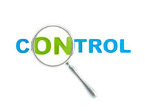Word control under the magnifier isolated Stock Photography