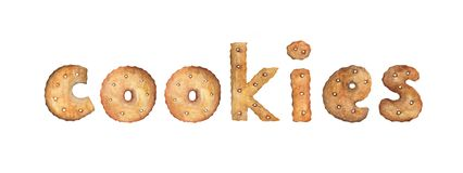 Word COOKIES made of real cookies. stock illustration