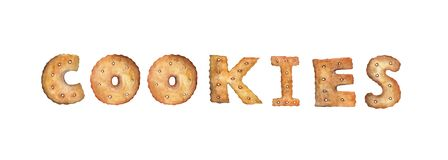 Word COOKIES made of real cookies. vector illustration