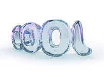 Word COOL made from ice letters on white background. 3d renderin Royalty Free Stock Images