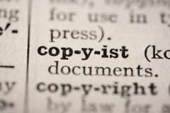 Word copyist. From the old dictionary, a close up Stock Photo