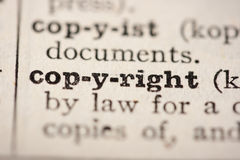 Word copyright. From the old dictionary, a close up Royalty Free Stock Photography