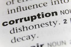 The Word Corruption Close Up stock photo