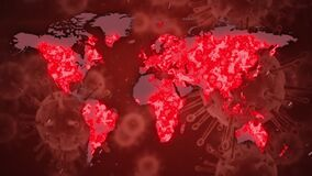 Word Covid-19 written with coronavirus cells spreading and world map on red background.
