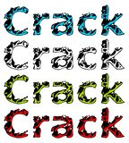 Word CRACK isolated on white in four colored variations Stock Photos