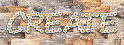 Word Create Wood Background. Word made from real daisy flowers on wood background Royalty Free Stock Photos