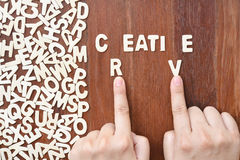 Word creative made with block wooden letters Royalty Free Stock Photo