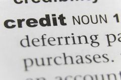 The Word Credit Close Up stock image