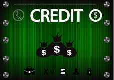 Word `credit` on a green background Stock Photo