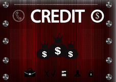 Word `credit` on a red background Royalty Free Stock Photos
