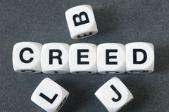 Word creed on toy cubes Stock Photo