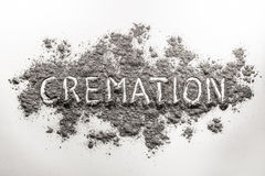 The word cremation written in ash. The word cremation written in grey dead body ash royalty free stock photography
