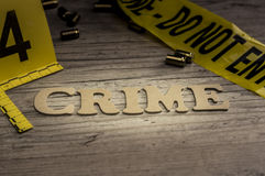 Word crime concept with wooden letters stock image