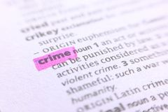 The word crime in a dictionary Royalty Free Stock Photo