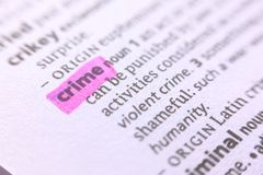 The word crime in a dictionary Stock Photography