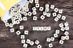 Word CRIME on old wooden table. Word CRIME formed by wood alphabet blocks. On old wooden table royalty free stock photos
