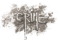 Word crime written in ash. On a white background royalty free stock photo