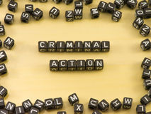 The word criminal action Stock Images