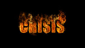 The word crisis burning Stock Photos