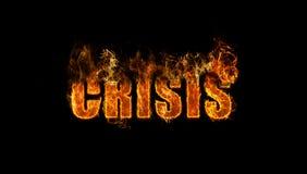 The word crisis burning. Concept - financial crisis Stock Photos