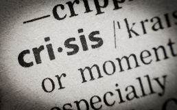 Word crisis, glossary, macro Royalty Free Stock Photos