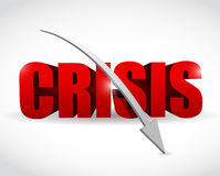 Word crisis and a falling arrow illustration. Design over white Stock Images