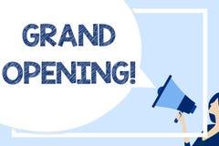 Word ?crivant l'ouverture officielle des textes Concept d'affaires pour que tenu marque l'ouverture de nouvelles affaires ou lieu illustration libre de droits