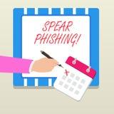 Word ?crivant la lance Phishing des textes Concept d'affaires pour envoyer de faux emails pour extraire des donn?es financi?res ? illustration libre de droits
