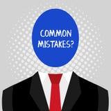 Word ?crivant la question d'erreurs de terrain communal des textes Concept d'affaires pour l'acte de r?p?tition ou jugement mal o illustration stock