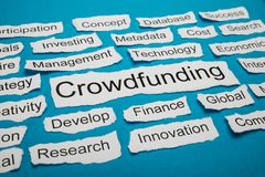 Word crowdfunding on piece of torn paper. Word Crowdfunding Rate On Piece Of Paper Salient Among Other Related Keywords Stock Photo